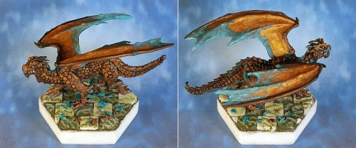 Show Off :: Copper Dragon on Marbled Tiled Hex Base :: 03430 :: Young Swamp Dragon :: Reaper Miniatures